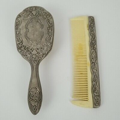 Vintage Floral Rose Ornate Brush and Comb Set Silverplate Made in China
