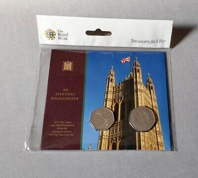 Brexit 2020 2 Coin Set. EEC Entry 1973 and 2020 Withdrawal From The EU 50p