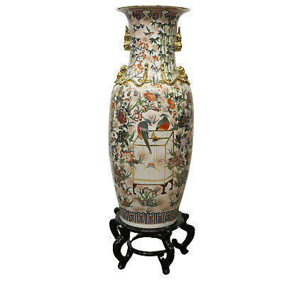 "Vase, Chinese Porcelain, Large Floor, 64.5"" H, Gorgeous Vase, Vintage!"