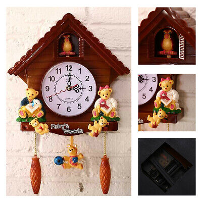 Home Living Room Wall Mounted Wooden Cuckoo Clock Study Vintage Cute Swing Timer