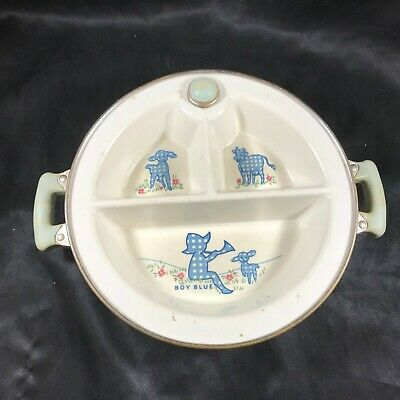 Vintage EXCELLO Baby Food Warming Dish Divided Bowl Little Boy Blue