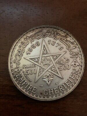 1956 (a) AH1376 Morocco 500 Francs Silver Foreign Coin KM Y54