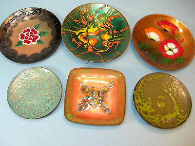 LOT of 6 COPPER ENAMEL Trinket / Coin TRAYS ..ABSTRACTS, FLORAL