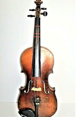Antique Small Flame Maple Back Violin Fiddle #S2135 In Hard Case
