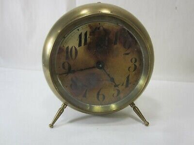 Antique New Haven Brass Alarm Clock for Parts or Restore
