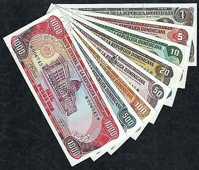 1978  Dominican Republic Specimen Bank Notes  -  Set Of 8    -   Uncirculated