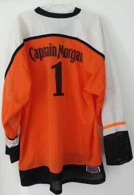Captain Morgan #1 Jersey Jerico Athletic Mens XL Orange White Black