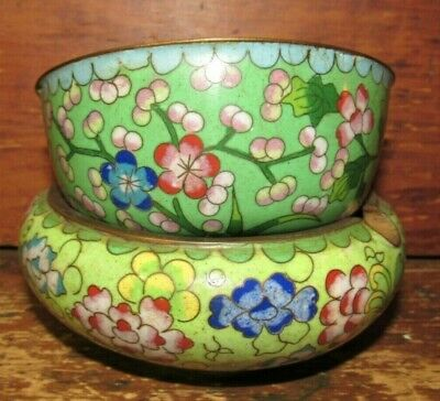 2 Vintage Chinese Japanese Cloisonne Brass Bowl and Ashtray Floral Green Blue