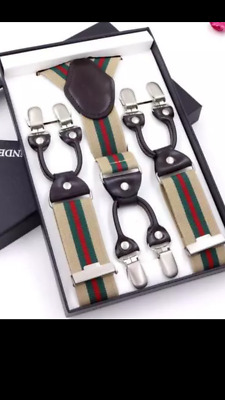 Mens Designer Paisley Braces For Men Luxury Adjustable Suspenders 6 Clips New Uk