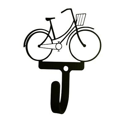 Village Wrought Iron SS-VWI-WH-301-S 4 Inch Bicycle Woman/Girl Wall Hook Small