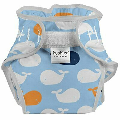 Kushies C602-89 Baby Infant Waterproof Diaper Wrap Blue Whales