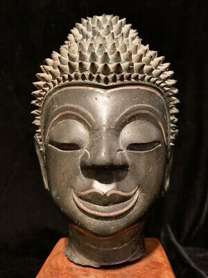 Large unusual very rare Lao bronze Buddha head with silver inlays  17th c