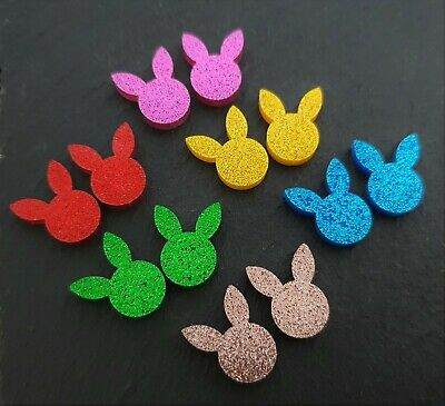 14mm Glitter Acrylic Bunny Head Cabochons ~ 6 Pairs Laser Cut Easter Cabochon
