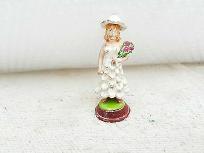 Vintage Hand Made & Painted Terracotta English Doll Holding Bouquet