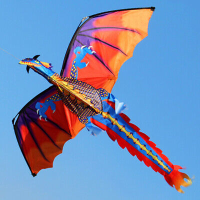 Ee_ 3D Flying Dragon Kite 328Ft Large Line With Tail Outdoor Kids Play Toy Kindl