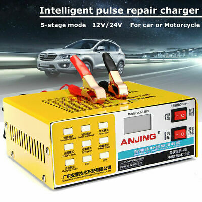 New#12V/24V 200AH Electric Car Auto Battery Charger Intelligent Pulse Repair