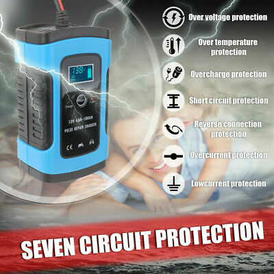 Full Automatic Smart 12V#6A Lead Acid/GEL Battery Charger Car Motorcycle F7W5