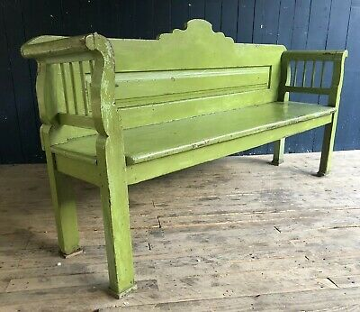 Hungarian Green Painted Rustic Bench Settle Pew Seat Pub Farmhouse *DELIVERY*