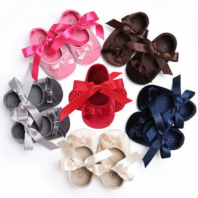 Ee_ Am_ Bowknot Baby Girls Infant Cotton Soft Anti-Slip Princess Toddler Shoes N