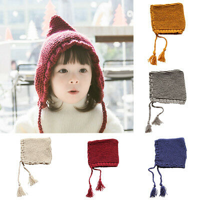 Ee_ Qa_ Cute Boy's Girl's Kids Triangle Shape Tassels Lace-Up Warm Knitted Hat N