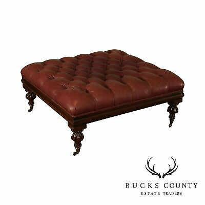 "Henredon 40"" Square Tufted Leather Regency Style Ottoman"