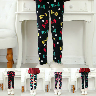 Ee_ Kids Baby Girls Winter Warm Leggings Full Length Bottoms Trousers Pants Stri