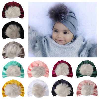 Ee_ Toddler Girls Boys Baby Fur Pom Turban Head Scarf Beanie Cap Hat Headwear St