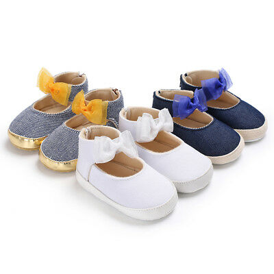 EE_ EG_ Bowknot Baby Girls Infant Canvas Soft Anti-Slip Princess Toddler Shoes S