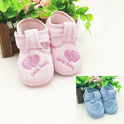EE_ KF_ Toddler Infant Cute Love Heart Striped Soft Sole Newborn Baby Walking Sh