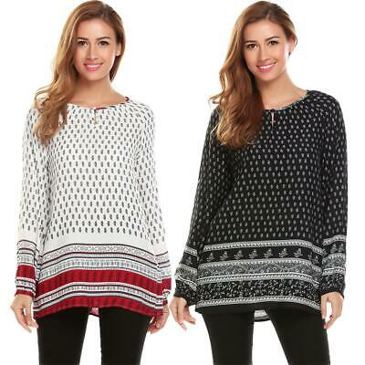 Women Ethnic Style O-Neck Long Sleeve Print Casual Loose Blouse Tops CLSV 03