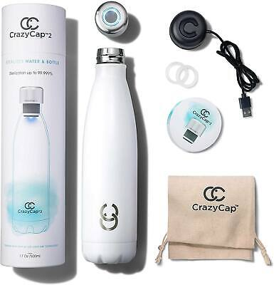 CrazyCap UV Water Bottle Purifier - for Water Purification, Self Cleaning Bottle
