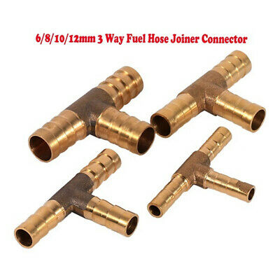 T Shape Multi Size 3 Way Adapter Pipe Connector Solid Brass Hose Joiner Durable