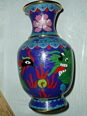 Chinese Cloisonne Hand-painted Dragon & Phoenix VASE  Blue 4 bronze rings floral