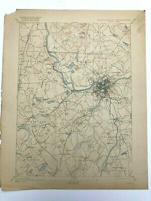 Antique 1918 Geological Survey Topographic Map MA Lowell Chelmsford Billerica