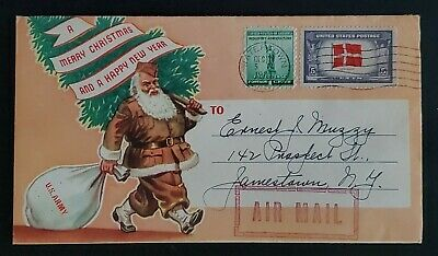 1943 Waltham MA to Jamestown NY Christmas Santa US Navy Mail Illustrated Cover