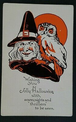 Mint Vintage Witch with Owl Scary Halloween Poem Illustrated Postcard Cover