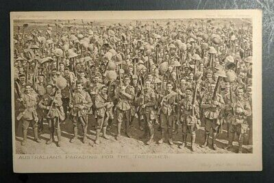 Mint Vintage Australians Parading for Trenches WWI Real Picture Postcard RPPC