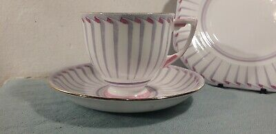 Grafton China Art Deco Cup & Saucer Tea Trio Pink & Purple Grecian Pattern 5865