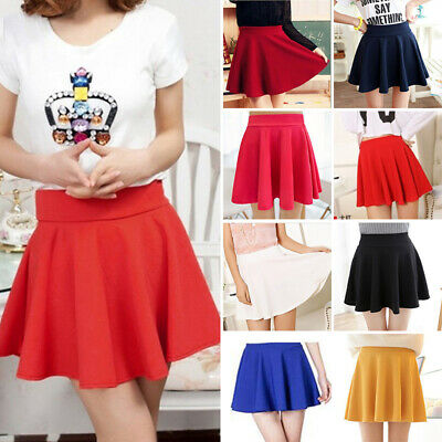 Womens Tennis High Waist Plain Skater Flared Pleated Girls Mini Short Skirt New