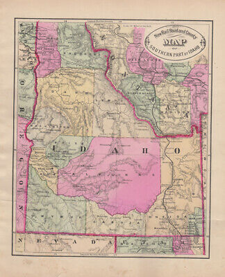 George F Cram: New Rail Road and County Map of Southern Part of Idaho, ca. 1882