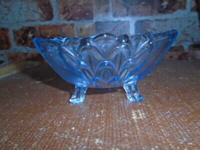 Vintage Art Deco Blue pressed Glass Footed Bowl small 1930s