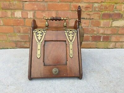 Antique mahogany and brass coal box and scuttle