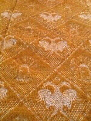 Antique Vintage Wool Coverlet Gold and Ivory 70 X 88