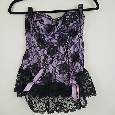 Fredericks Of Hollywood Silk Lace Corset Floral Bustier Size 36 Purple and Black