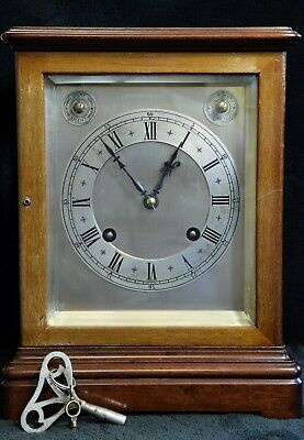 German 2 Coil Gong Mahogany Framed 4 Glass Library Clock 1/4 striking Maker M.B.
