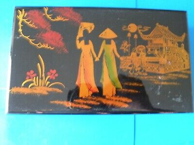 Asian Chinese Japanese Hand Painted Black Laquer Trinket Jewelry Wood Box J10