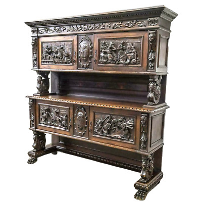 Sideboard, Italian Renaissance Revival, Figural Early 1900s, Handsome Vintage!