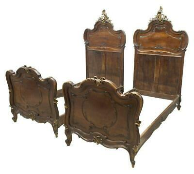 Beds, Italian Louis XV Style,Carved Walnut Handsome Pair, Early 1900s, Antique!