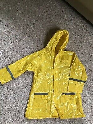 Spartan School Supply Yellow Hooded PVC Raincoat Size 7-8 With Safety Strips