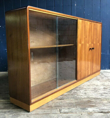 Mid Century Glass Sliding Doors Bookcase Sideboard Cupboard Retro DELIVERY*
